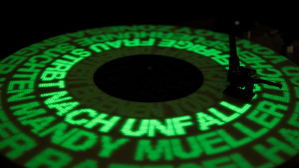 Glow-in-the-dark record player display