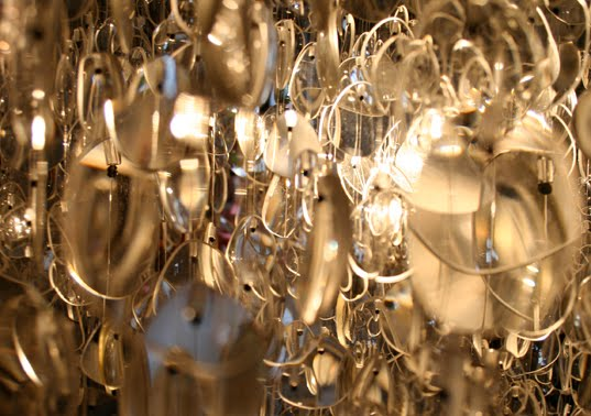 Chandelier from recycled eyeglasses