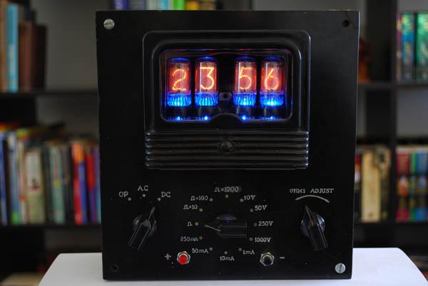 Nixie tube clock in voltmeter case