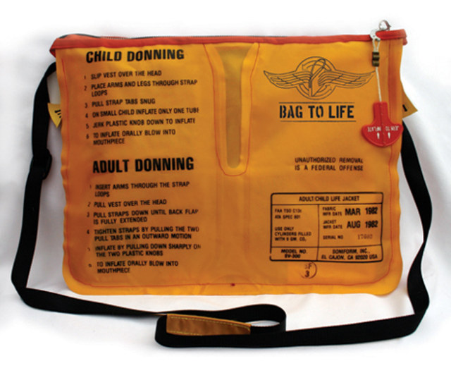 Messenger bags made from recycled life vests