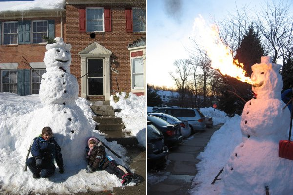 Fire breathing snowman is standing contradiction