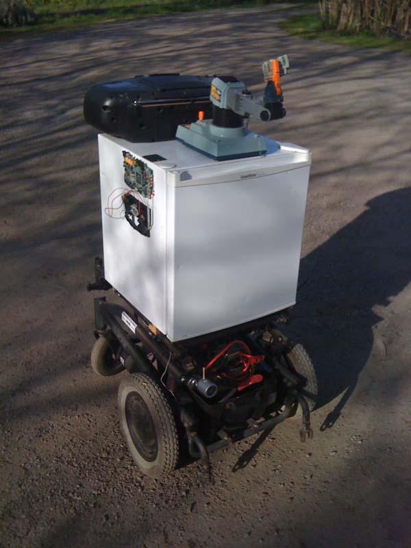 Armatronic soccer-playing, beer-delivering, gun-toting robotic fridge