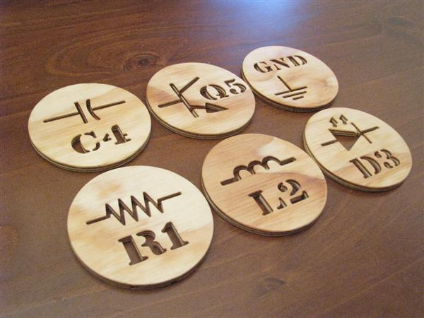In the Makers Market:  Electronic component coaster set