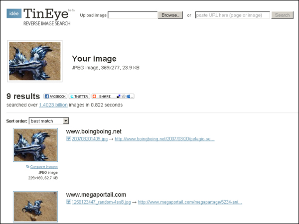 Handy reverse image search engine