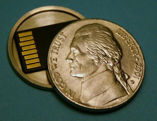 Hollow spy nickel conceals Micro SD card