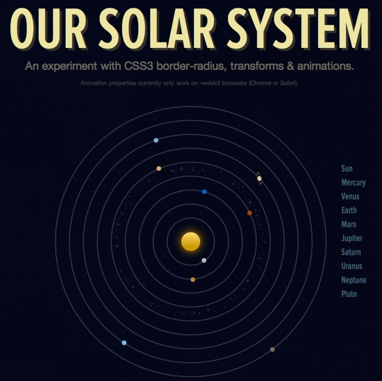 Our Solar System — An experiment with CSS3 border-radius, transforms & animations
