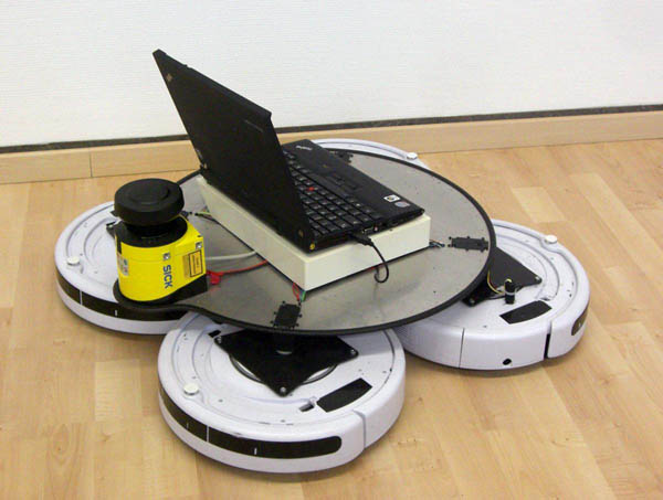 Humanoid with quad-Roomba drive