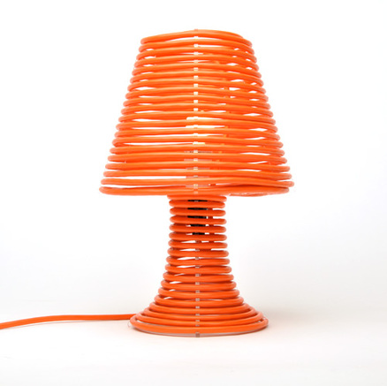 Coiled extension cord lamp kit