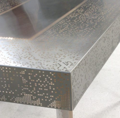 """Laser Cut Stainless Steel """"Lace"""" Table Covering"""