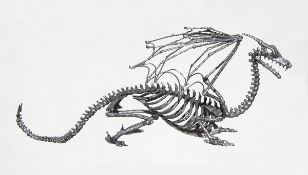Wicked skeletal dragon lord hood ornament