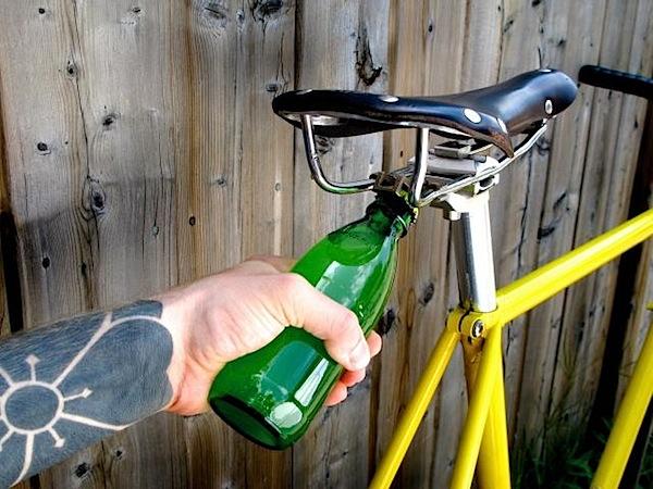 Bike seat bottle opener