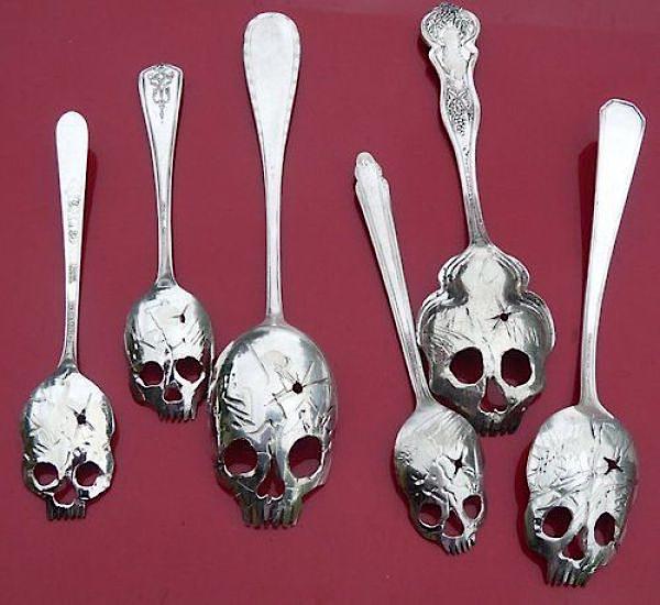 Silver skull spoons