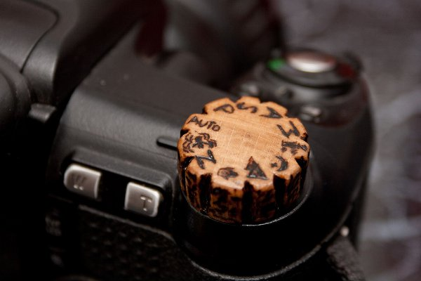 Homemade wooden knob for camera is beautiful