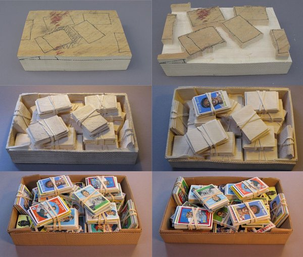 Carved Box of Baseball Cards