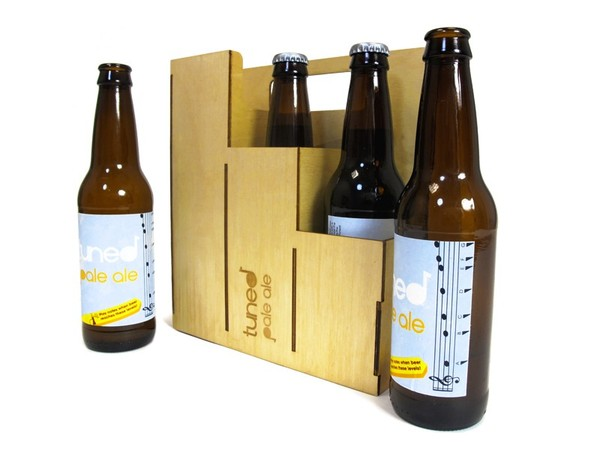 Beer bottles with tuning levels printed on labels