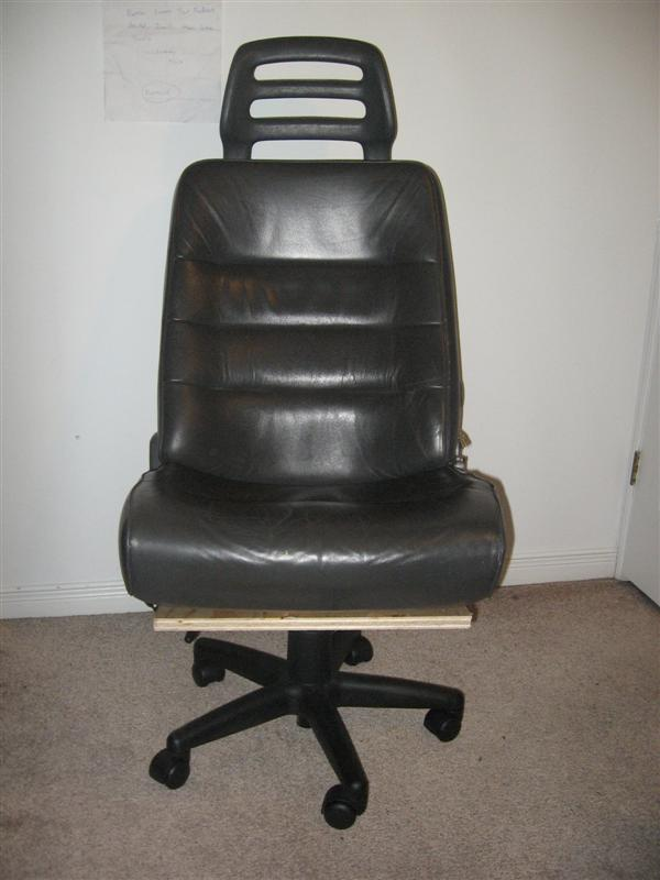 Office chair from junked leather car seat