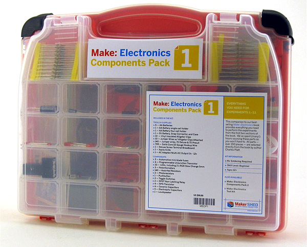 Back in stock! Make: Electronics Components Pack 1