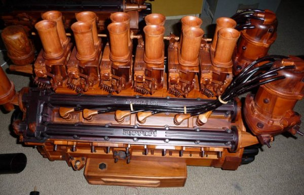 Ferrari engine carved from wood