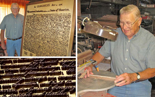 Giant fretwork Declaration of Independence took 10 years