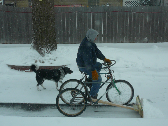 Firefly Workshop's pedal-powered snow plow