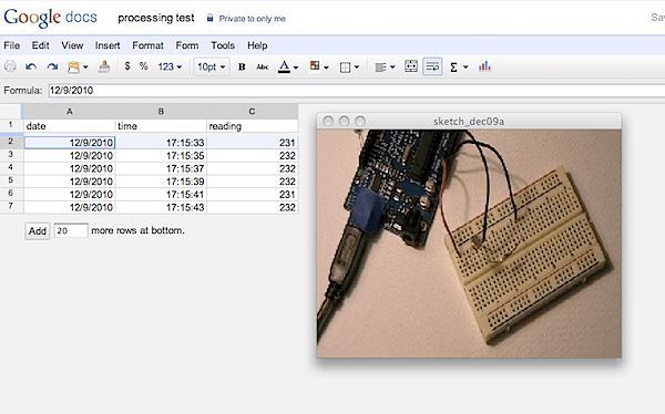 Codebox: Save sensor data to Google Spreadsheets