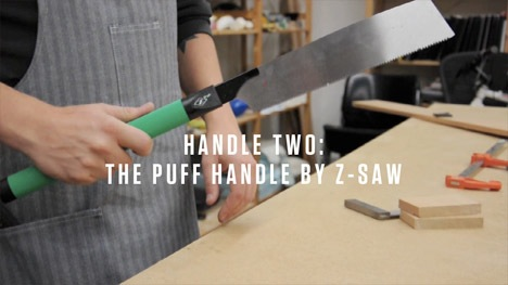 Japanese saw handle puffs away sawdust