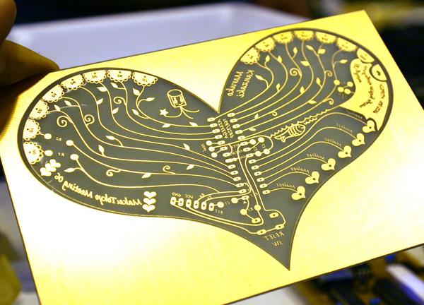 Loveduino, a heart-shaped Arduino board