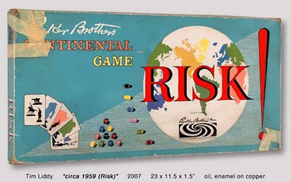 Photo-realistic paintings of classic board games
