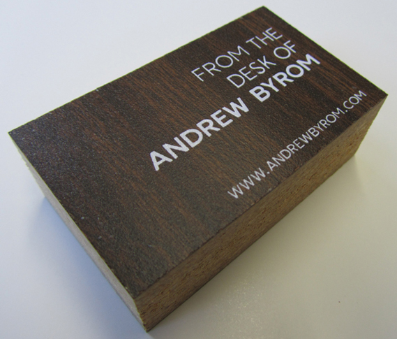 Business cards made from designers desk