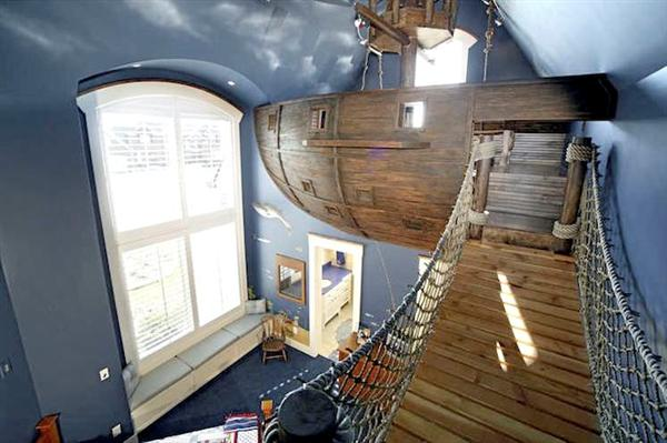 Pirate Ship Bedroom With Rope Bridge, Slide, Top-Access Closet