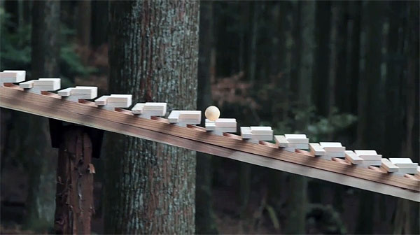 Japanese Gravity Marimba Plays Bach In An Ancient Forest