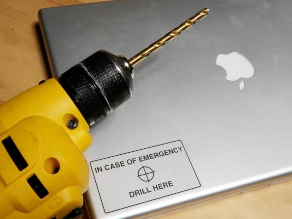 Drill Here to Destroy Hard Drive