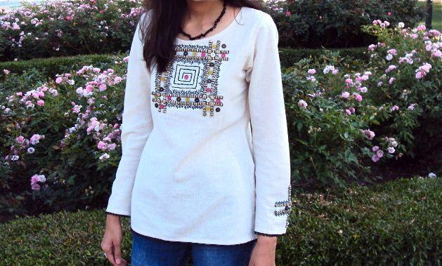 How-To: Burlap & Buttons Shirt Embellishment