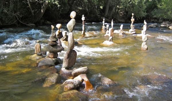 Balanced Stones in Running Water
