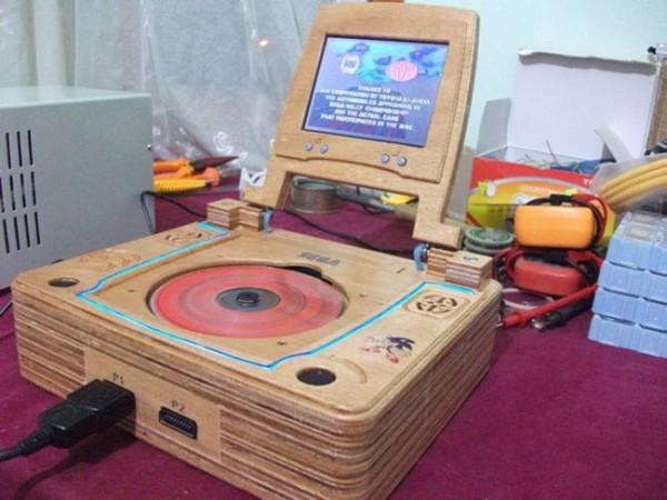 CNC-cut Wooden Sega Saturn Case Mod