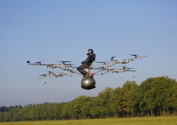 Man Flies in Electric Multi-copter