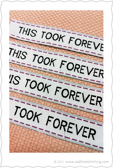 """""""This Took Forever"""" Labels From Sublime Stitching"""