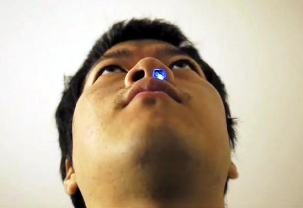 Draft-Sensing Noselight Glows When You Breathe