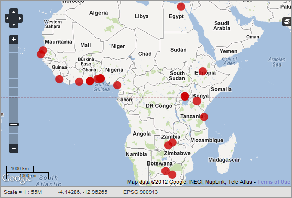 Map of African Tech Hubs and Hackerspaces