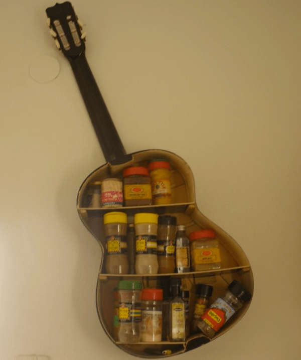 Gutted Guitar Reborn as Spice Rack