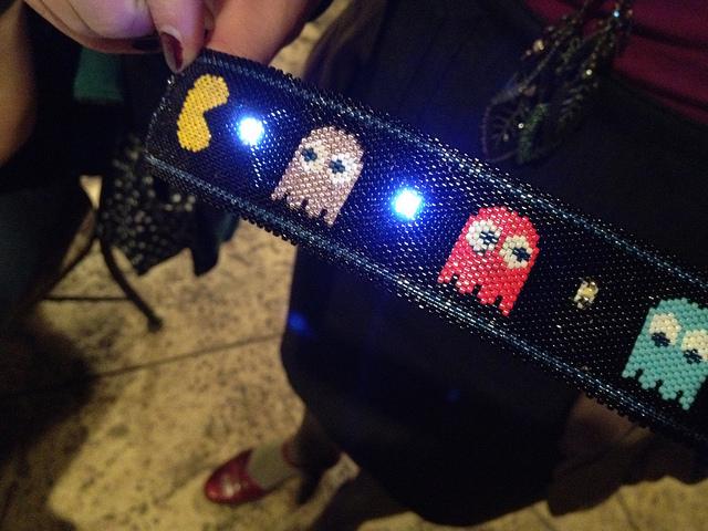 Beaded eTextile Pac-Man Cuff