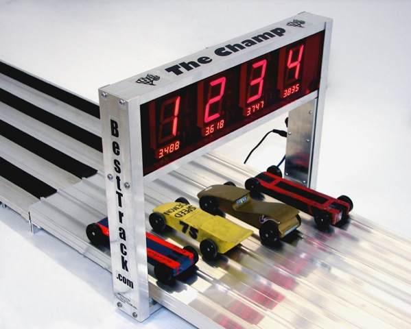 High-Tech Pinewood Derby Racetrack Resolves Race Times 0.00005 Seconds