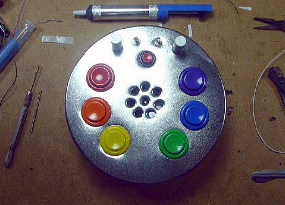 Atari Punk Console in a Fruit Cake Tin