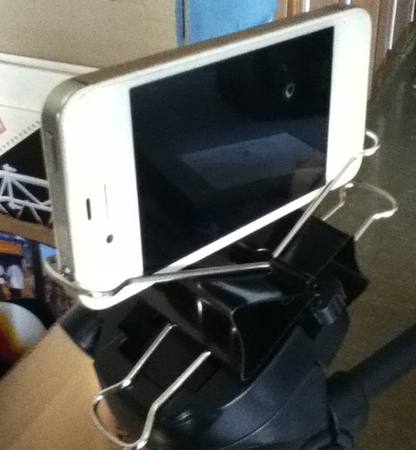 No-Drill iPhone Binder Clip Tripod Mount