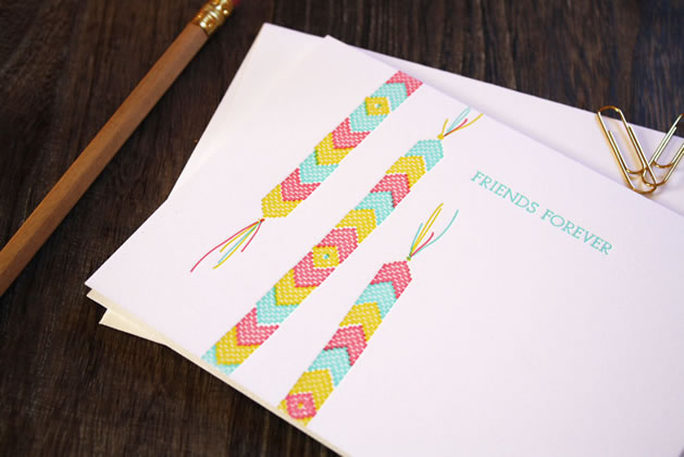 Friendship Bracelet Letterpress Card from Printerette Press