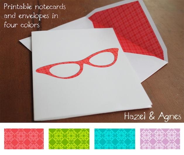 Printable Eyeglass Notecards