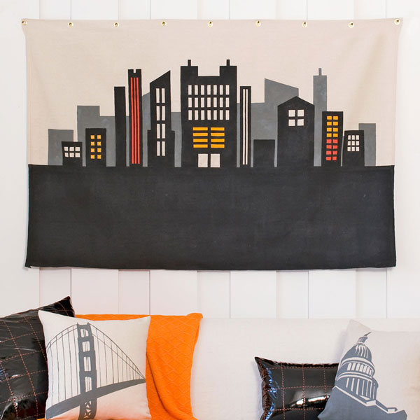 How-To: Cityscape Stenciled Canvas Wall Art