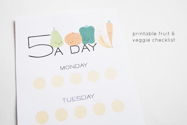 Printable Fruit and Veggie Checklist