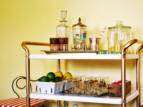 DIY Bar from an Old Kitchen Cart