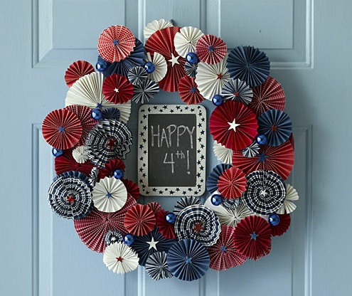 Folded Paper Fourth of July Wreath